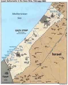 Cartina della striscia di Gaza