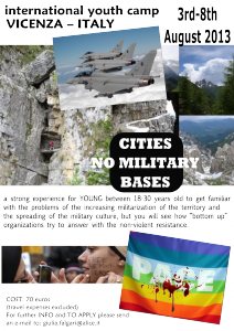 INTERNATIONAL SUMMER CAMP. 3-8 agosto per GIOVANI.CITIES NO MILITARY BASES