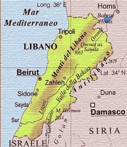 cartina del Libano