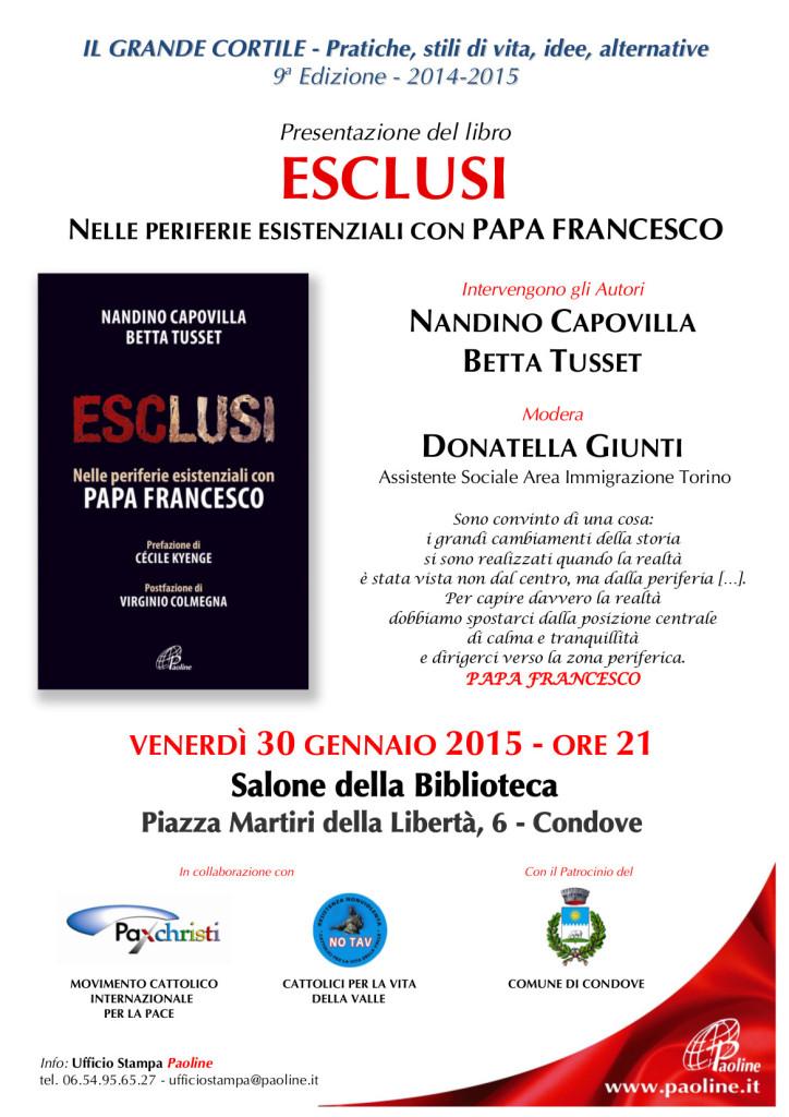 locandina presentazione libro ESCLUSI - Condove 30 gennaio 2015