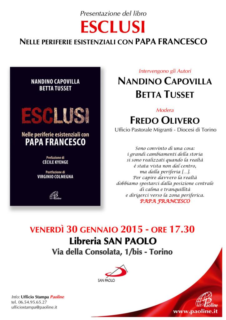locandina presentazione libro ESCLUSI - Torino 30 gennaio 2015
