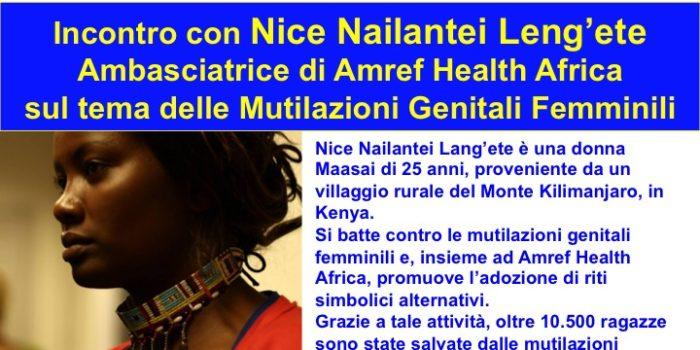 24 ottobre, Catania – Incontro con Nice Nailantei Lang'ete, ambasciatrice di Amref Health Africa sul tema delle Mutilazioni Genitali Femminili