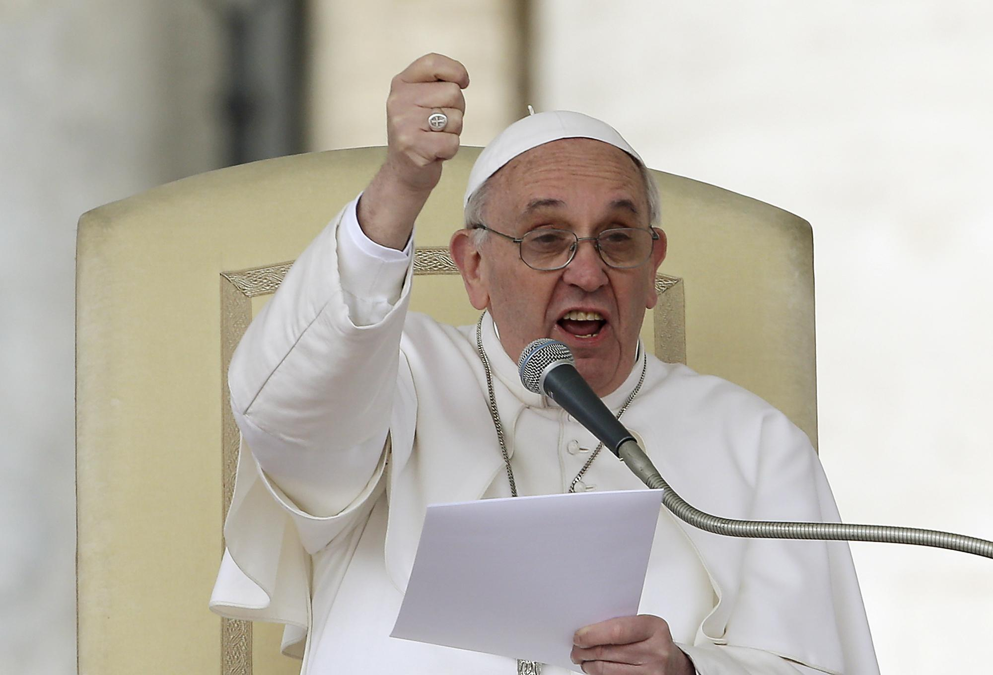 Pope Francis gestures as he speaks during his weekly general audience in St. Peter square at the Vatican Wednesday, April 3, 2013. (AP Photo/Alessandra Tarantino)