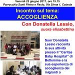 23 giugno, Punto pace di Catania – incontro sul tema dell'accoglienza, con suor Donatella