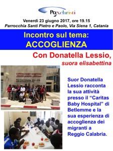 """Incontro a Catania sul tema """"Accoglienza"""" con suor Donatella"""