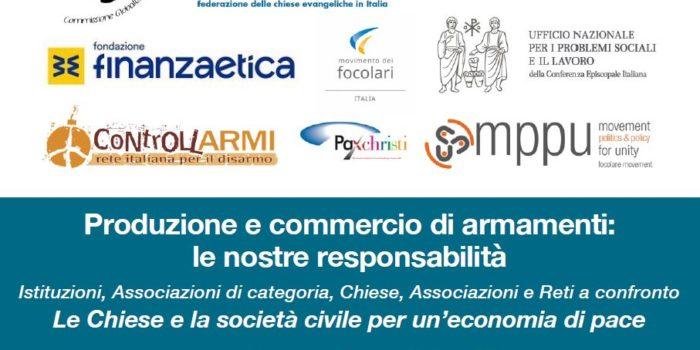 1 marzo, Roma – Convegno – Produzione e commercio di armamenti, le nostre responsabilità