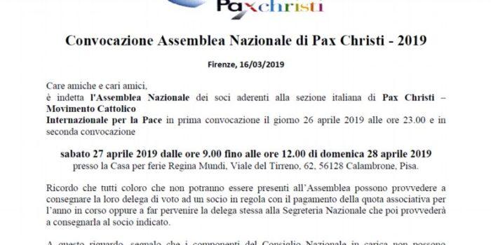 Convocazione Assemblea Nazionale di Pax Christi – 2019