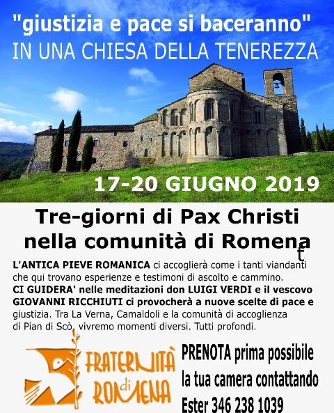 17-20 giugno 2019, Pratovecchio Stia (AR) – Tre giorni di Pax Christi a Romena