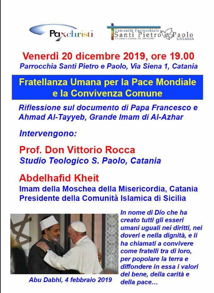 Incontro interreligioso a Catania sulla Fratellanza Umana