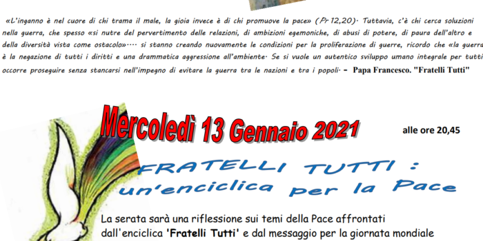 13 gennaio, Punto Pace Bologna – Fratelli tutti: un enciclica per la pace