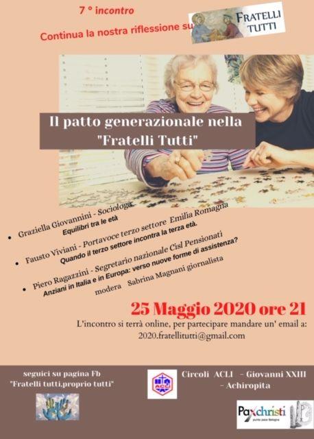 Punto pace di Bologna – Fratelli tutti: il patto generazionale