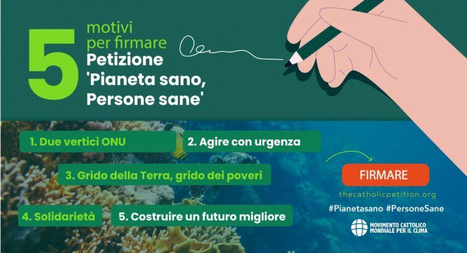 """Pax Christi Italia sostiene la petizione """"Pianeta Sano, Persone Sane"""" promossa dal Movimento Laudato Sì', in occasione del Tempo del Creato 2021"""